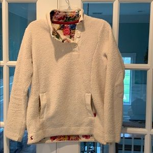 Joules Sherpa fleece floral trimmed pullover